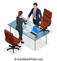társas viszony, concept., ügy, vektor, hivatal., vagy, interjú, szembesítés, konstruktív, businesspeople, isometric, ábra, után, kézfogás, teremtő, tárgyalás