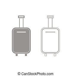 táska, állhatatos, szürke, ikon, poggyász
