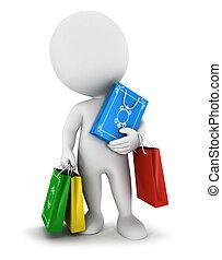 táska, fehér, 3, bevásárlás, emberek