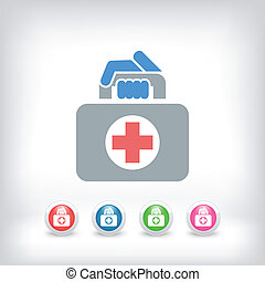 táska, orvosi, ikon