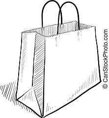 táska, skicc, bevásárlás