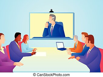 távkonferencia, gyűlés, birtoklás, ügy emberek
