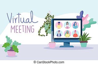 távoli, covid, dolgozó, coronavirus, tanácskozás, video, találkozó online, 19, közben