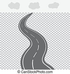 távolság, fehér, markings., út, hátráló