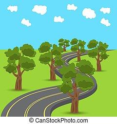 távolság, hátráló, road., tölgy, bitófák, élsít, zöld, ábra, eleven, style., autóút