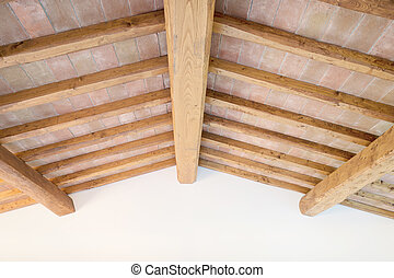 téglák, olaszország, plafon, wall., hagyományos, gerenda, erdő, toszkánai, piros