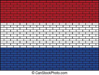 tégla, ábra, lobogó, holland, háttér, netherlands., vektor