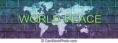 téglafal, kampány, transzparens, béke, térkép, globális, világ
