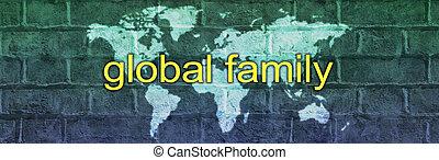 téglafal, kampány, transzparens, család, térkép, globális, világ