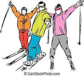 tél, ábra, hódeszka, vektor, sport, síel