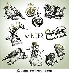 tél, állhatatos, karácsony, kéz, húzott