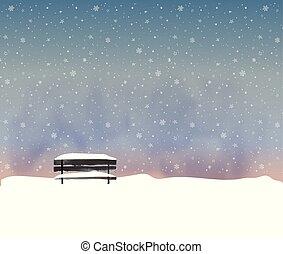 tél, öreg, snowfall., minimalista, táj, mód, bírói szék, ábra, fekete, vektor, éjszaka