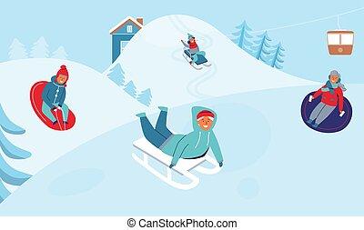 tél, emberek, resort., birtoklás, lány, ábra, játék, snow., fiú, holidays., vektor, betűk, szabadban, móka, síel, gyerekek, ródlizás, boldog