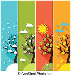 tél, függőleges, eredet, fa., ősz, szalagcímek, nyár