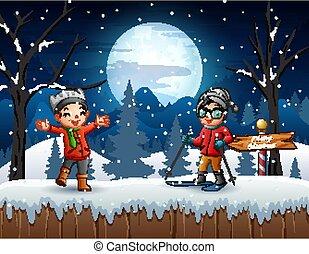tél, gyerekek, kívül, játék