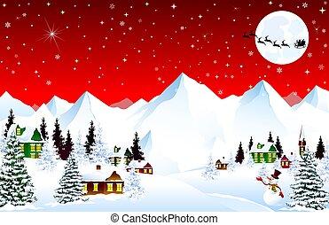 tél, karácsony, hegy község, éjszaka