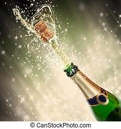 téma, fröcskölő, ünneplés, pezsgő