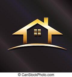 tényleges, arany-, grafikus, birtok, épület, vektor, tervezés, logo.