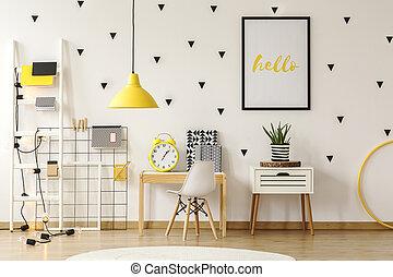 tényleges, berendezés, poster., szoba, gyermekek, fénykép, sárga, következő, lámpa, íróasztal, belső, fehér, szekrény, szék