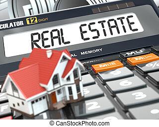 tényleges, calculator., birtok, épület, concept., mortgage.