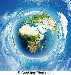 tényleges, földdel feltölt földgolyó, megkönnyebbülés