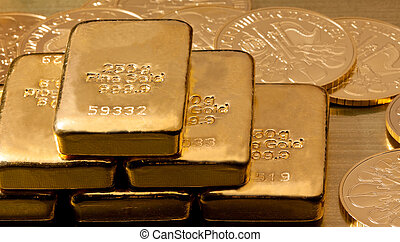tényleges, gold pénzdarab, mint, rúdarany, befektetés