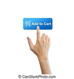 tényleges, gombol, elszigetelt, kéz, e-commerce, háttér, fehér
