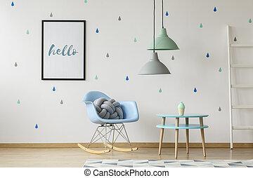 tényleges, szürke, kipárnáz, fénykép, tapéta, álló, blue szék, csomó, gyermek, belső, esőcseppek, fehér, wall., egyensúlyozó, szoba