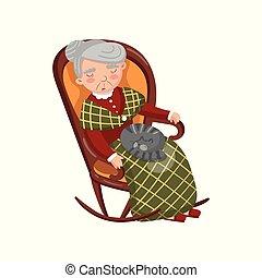térd, kényelmes, neki, ábra, alvás, vektor, nagyanyó, szék, macska, karikatúra