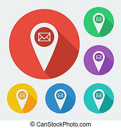 térkép, ábra, geo, set., hat, -, hosszú, befest, vektor, háló, árnyék, címke, mutató, ikon