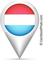 térkép, ábra, lobogó, vektor, luxemburg, mutató, shadow.