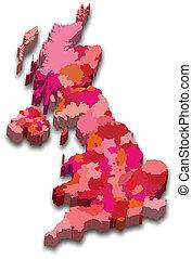 térkép, állam, anglia