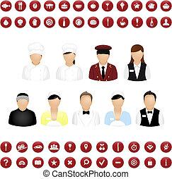 térkép, állhatatos, étterem, emberek, vektor, ikonok