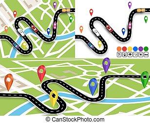 térkép, állhatatos, jelzett, város, ábra, kanyargás, vehicles., közútak, út, without., navigator., signs., mozgalom