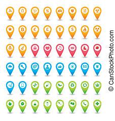 térkép, állhatatos, mutató, ikon