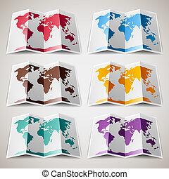 térkép, állhatatos, színes, világ