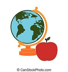 térkép, árnykép, alma, színes, világ