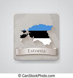 térkép, észtország, flag., ábra, vektor, ikon