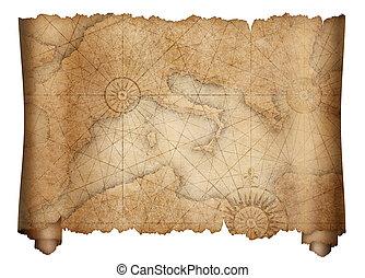 térkép, öreg, középkori, tengertől távol eső, elszigetelt, felcsavar