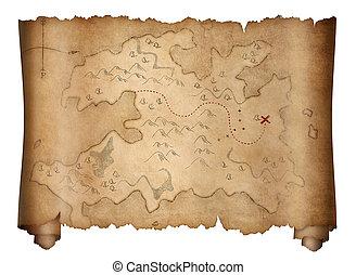 térkép, öreg, kalózkodik, kincs, elszigetelt, fehér, felcsavar
