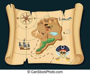 térkép, öreg, sziget, kincs, chest., ábra, adventures., vektor, kalóz
