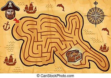 térkép, útvesztő, gyerekek, kalóz