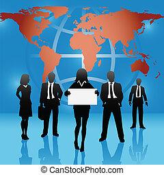 térkép, ügy emberek, globális, aláír, befog, világ, befolyás
