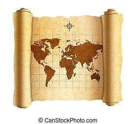 térkép, ősi, öreg, gyakorlatias, textured, világ, fehér, felcsavar