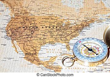 térkép, ősi, egyesült államok, utazás célállomás, egyesült, szüret, iránytű