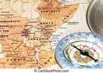 térkép, ősi, szüret, utazás célállomás, iránytű, tanzánia, kenya