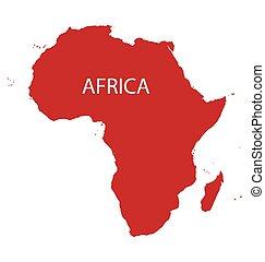 térkép, afrika, piros