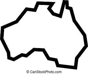 térkép, alakít, ausztrália, földrajz