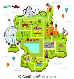 térkép, alapismeretek, család, fesztivál, map., mulattat, liget, szabad, játékok, vonzások, fairground, funfair, tervez, karikatúra, szórakozás, kölyök