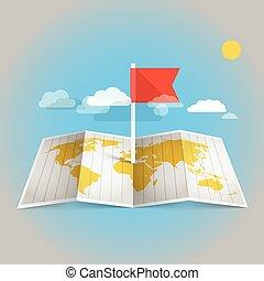 térkép, alapismeretek, flag., tervezés, világ, piros
